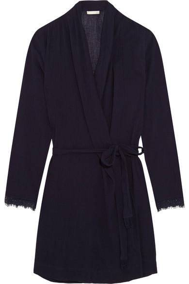 Skin Woman Lace-Trimmed Cotton-Gauze Robe Midnight Blue