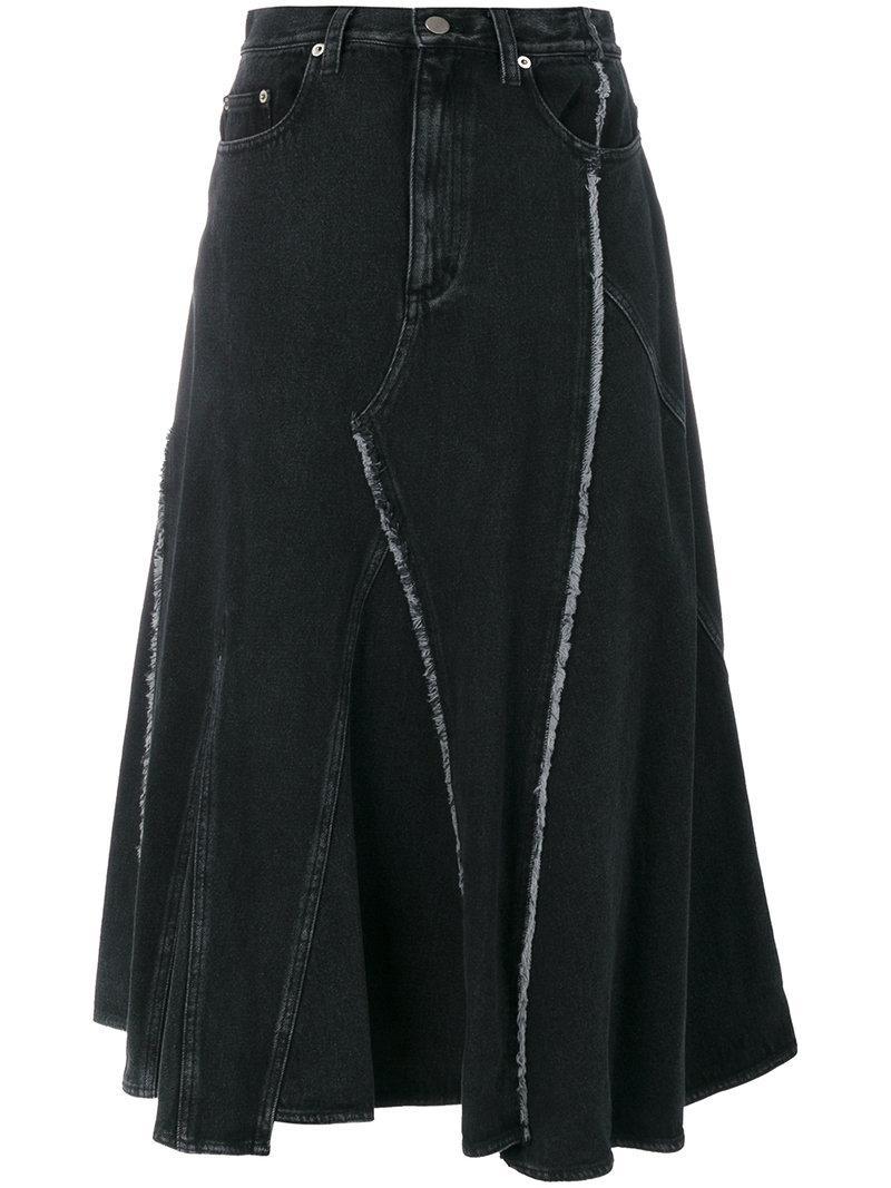 3.1 Phillip Lim Frayed Panelled Denim Midi Skirt In Black