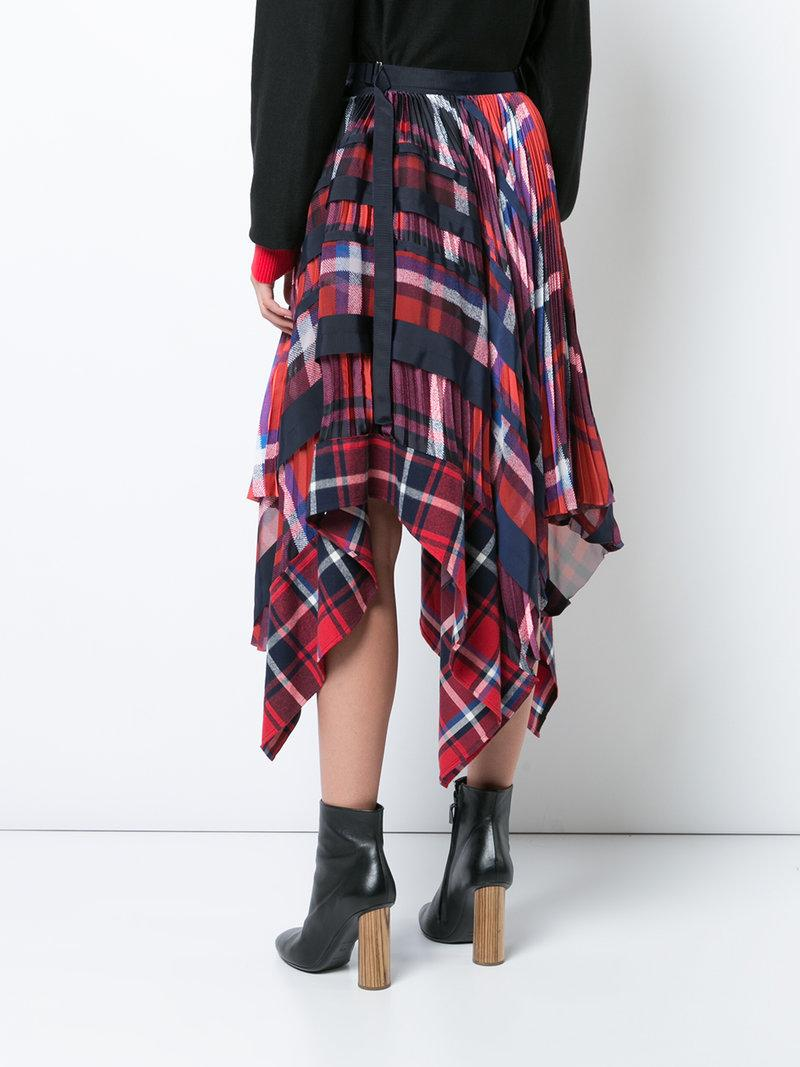 Sacai Plaid Pleated Wrap Midi Skirt In Red