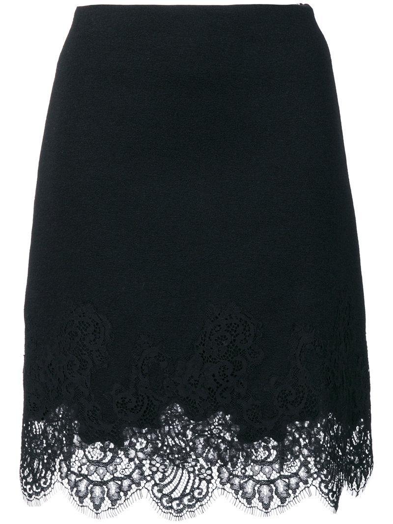 Ermanno Scervino Lace Trim Skirt In Black