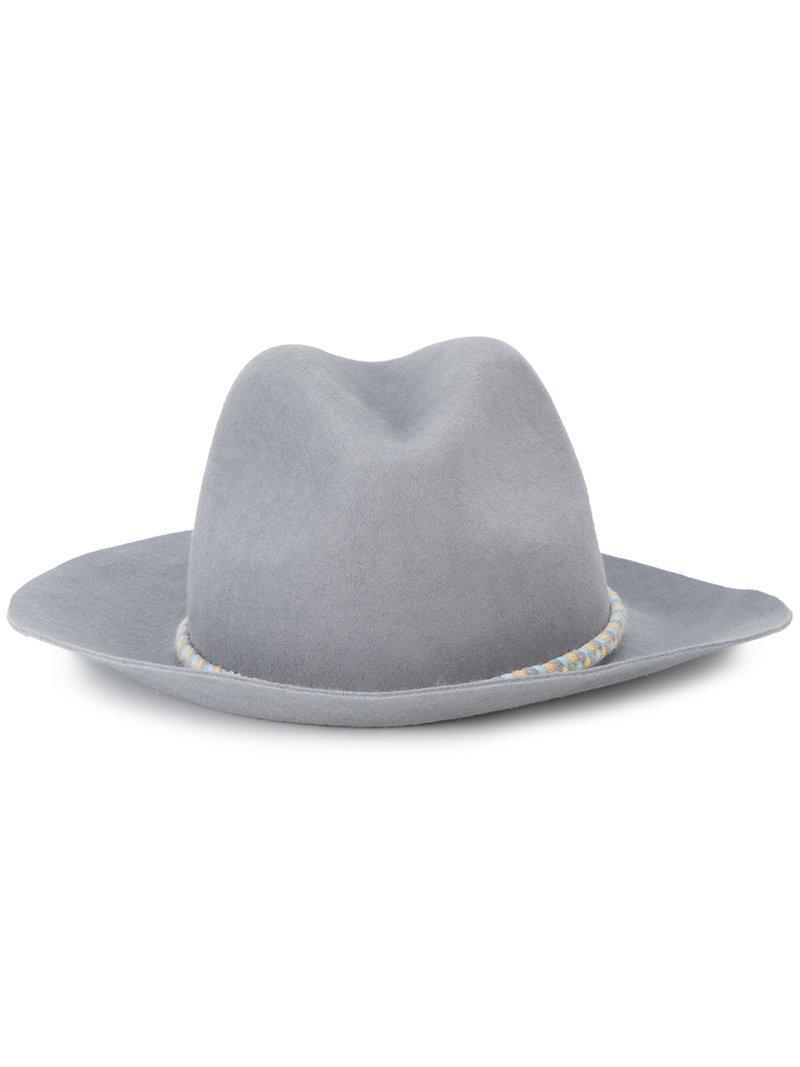 Yosuzi Ania Pom Pom Fedora Hat In Grey