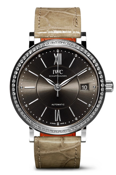 Iwc Schaffhausen Portofino Automatic 37Mm Stainless Steel, Alligator And Diamond Watch In Gray