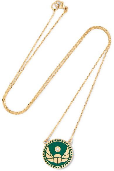 Foundrae Protection 18-Karat Gold, Diamond And Enamel Necklace