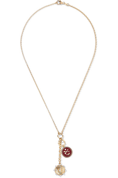 Foundrae Spark And Crossed Arrows 18-Karat Gold, Enamel And Diamond Necklace