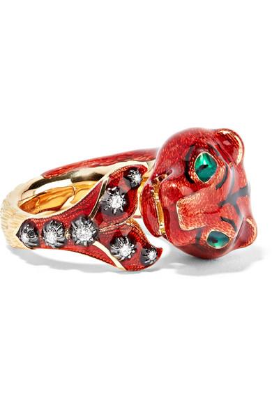 Gucci 18-Karat Gold, Diamond And Enamel Ring