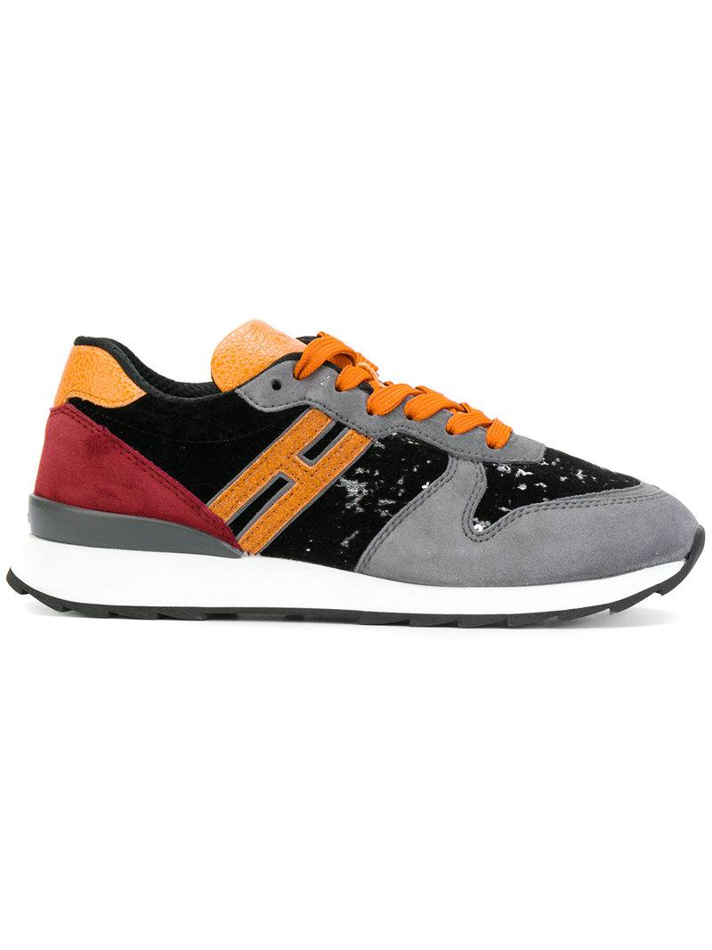 Hogan R261 Micro-Sequins, Suede And Grainy-Leather Effect Sneakers In Multicolor