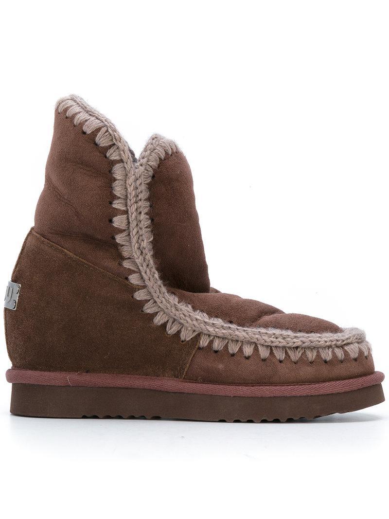 Mou Concealed Heel Eskimo Boots - Brown