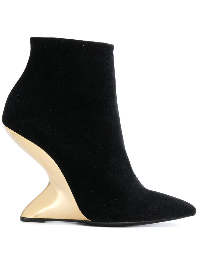 Salvatore Ferragamo Sculpted-heel Ankle Boots - Black