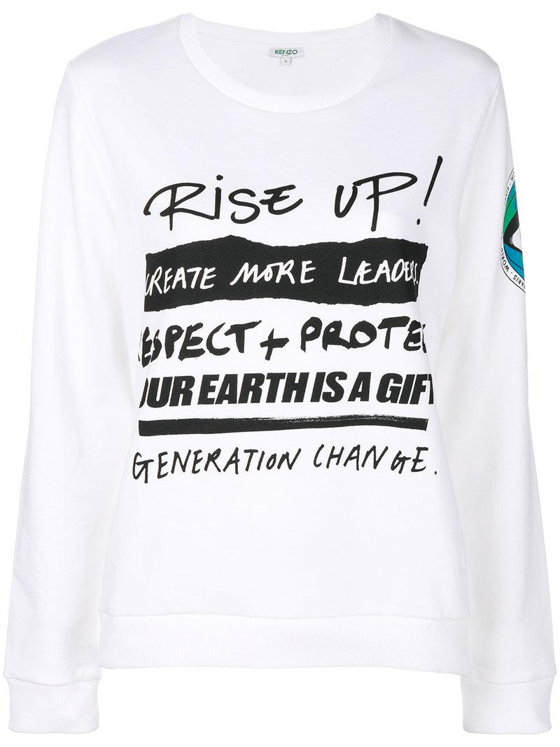 Kenzo Rise Up Print Sweatshirt In Bianco