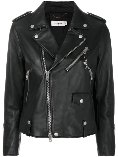 Coach Leather Biker Jacket In Black