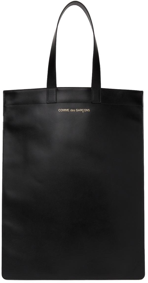 Comme Des Garçons Line B Logo Leather Tote In Black