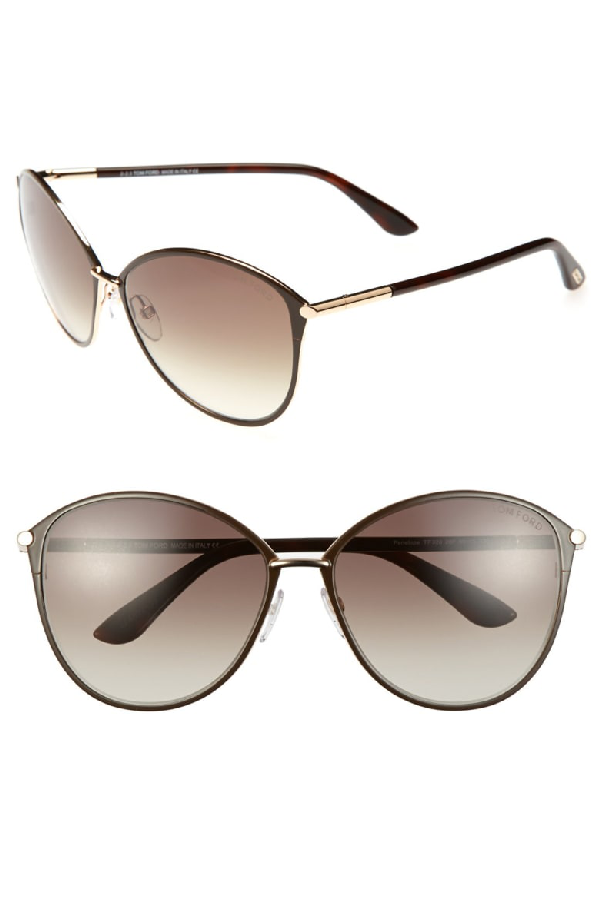 59dde82f52ff Tom Ford Penelope 59Mm Gradient Cat Eye Sunglasses - Shiny Rose Gold  Dark  Brown