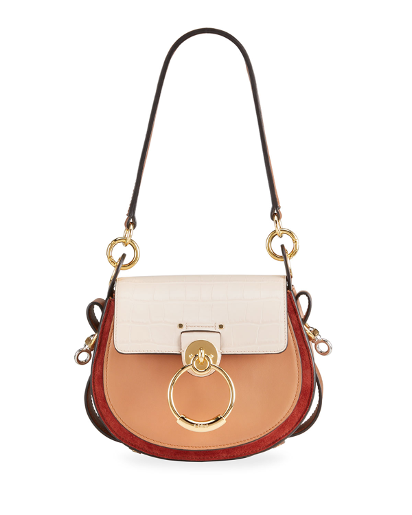 Chloé Tess Small Tricolor Mixed Leather Shoulder Bag In 6j5 Cement Pink