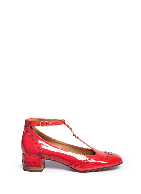 abd97271307e ChloÉ  Perry  T-Bar Patent Leather Ballerina Brogue Pumps In Rosso ...