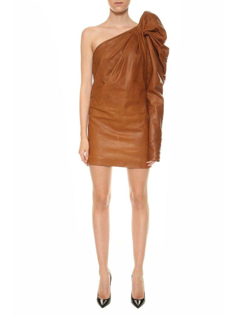 Saint Laurent Leather One-Shoulder Dress In Cognac