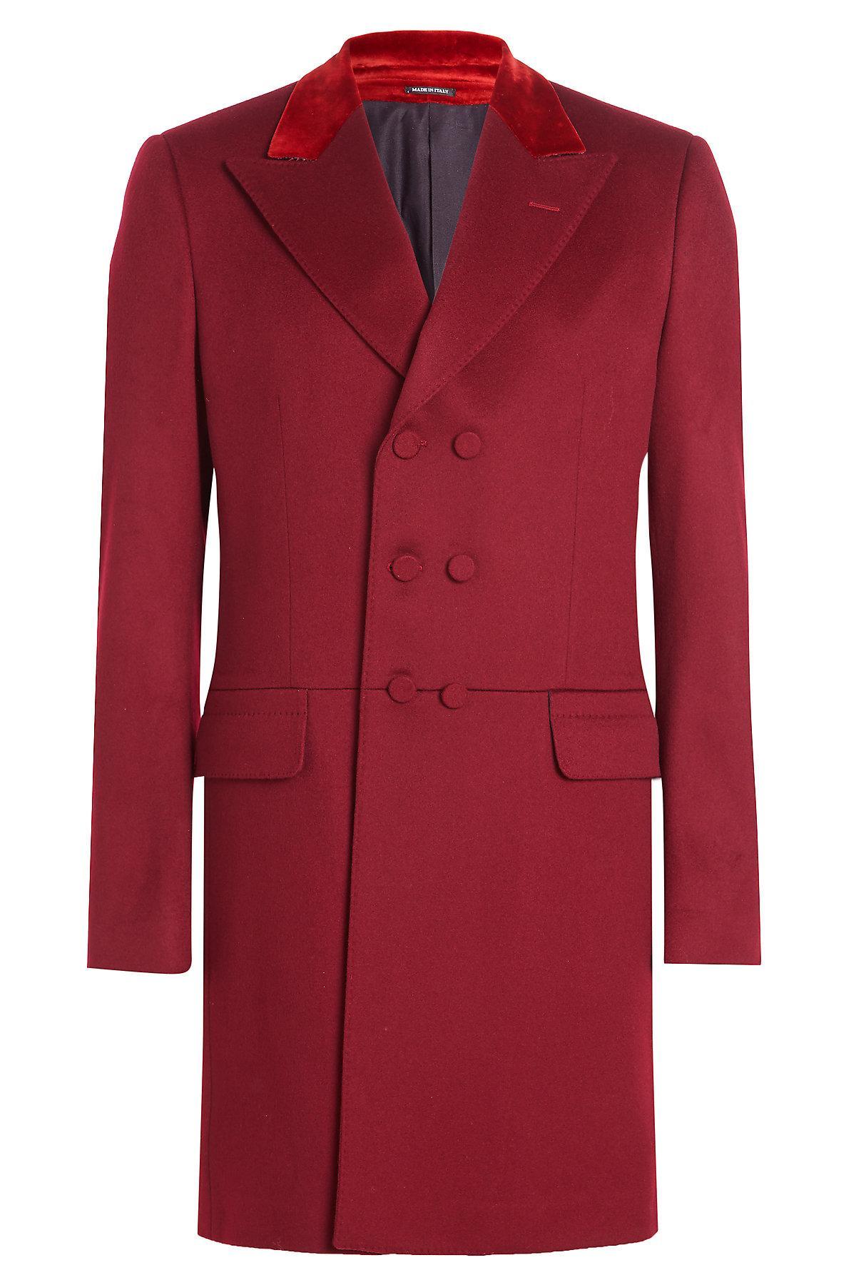 Alexander Mcqueen Wool Coat With Velvet In Red