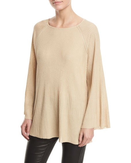 Elizabeth And James Marsali Crewneck Bell-sleeve Oversized Tunic Top In Gold