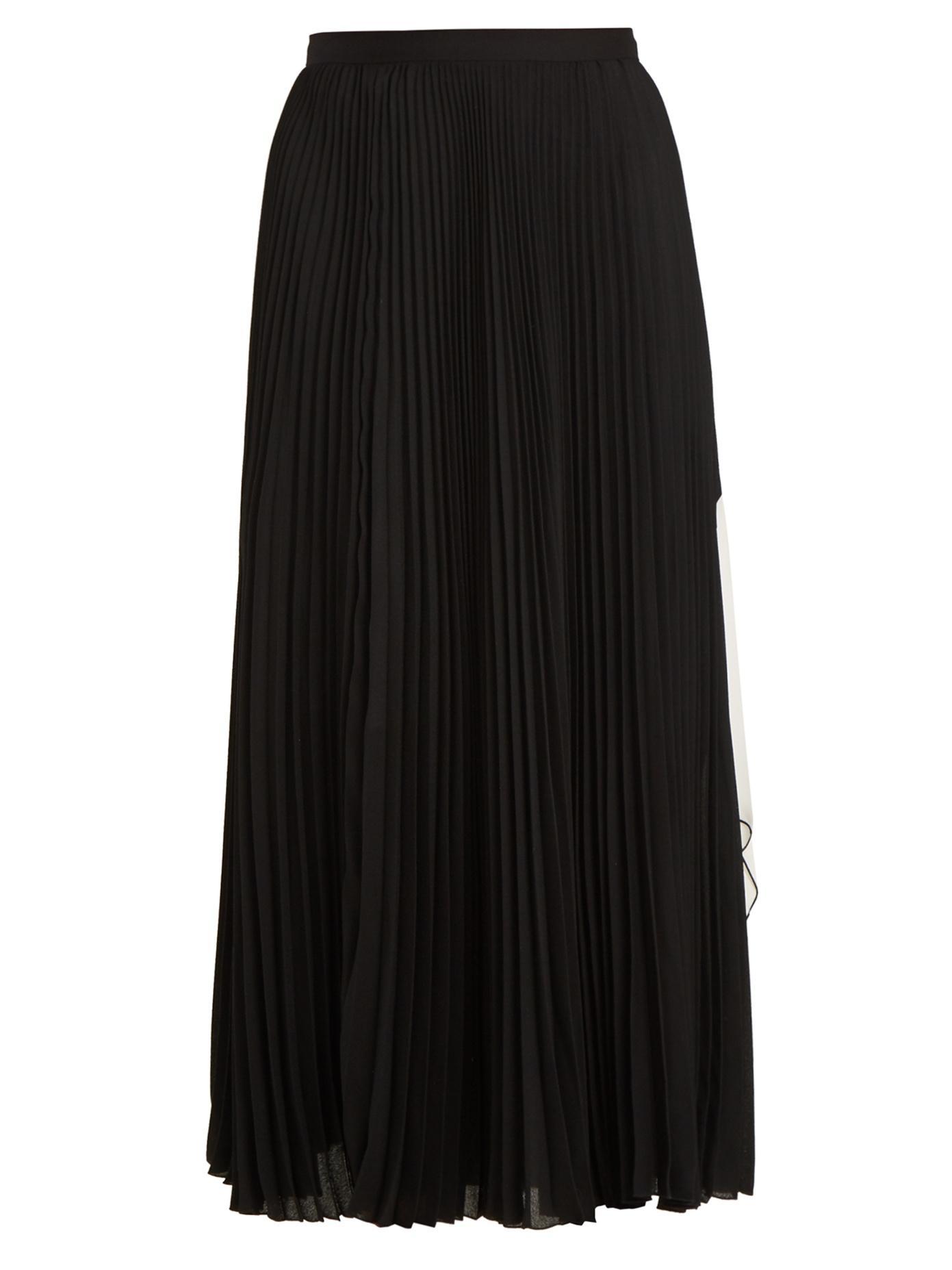 0b69a8d37b Proenza Schouler Cut-Out Hem Pleated-Crepe Midi Skirt In White Black ...