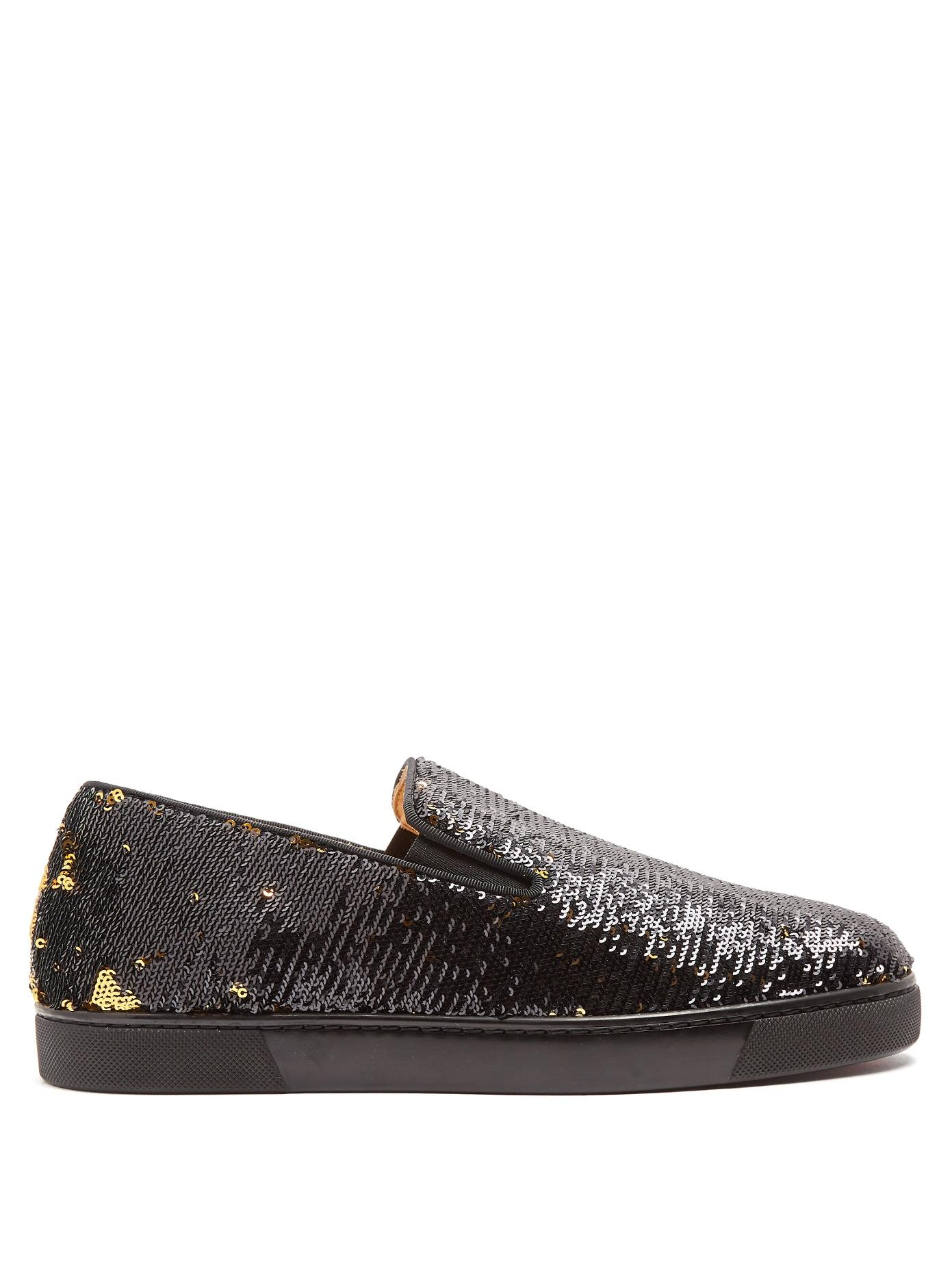 new styles f6769 6207f Boat Sequin-Embellished Slip-On Trainers in Black Gold