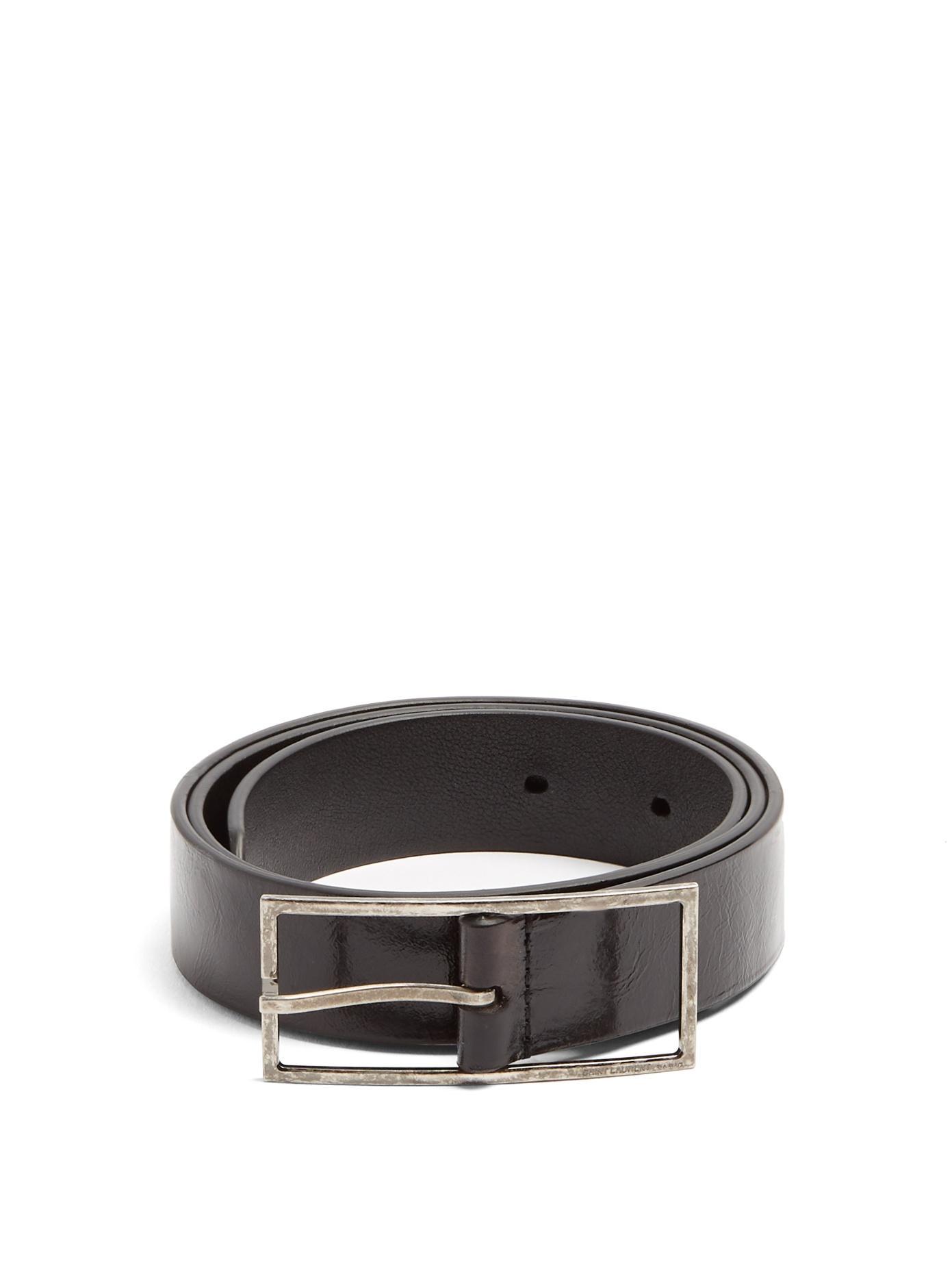 97581602ce Skinny Patent-Leather Belt in Black
