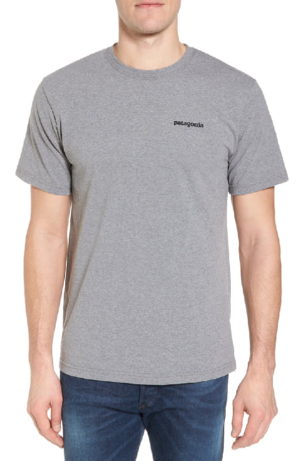 Patagonia P-6 Logo Printed Organic Cotton-Jersey T-Shirt In Gray