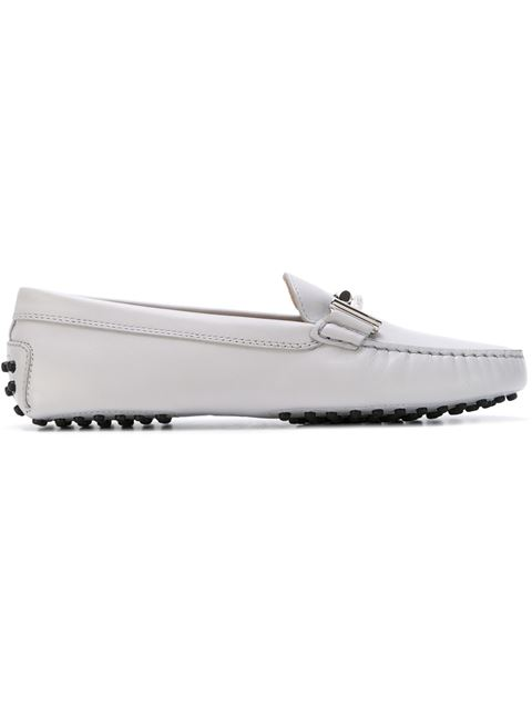 121cc65261a65 Tod's Gommino Double T Embellished Leather Loafers In Ivory | ModeSens