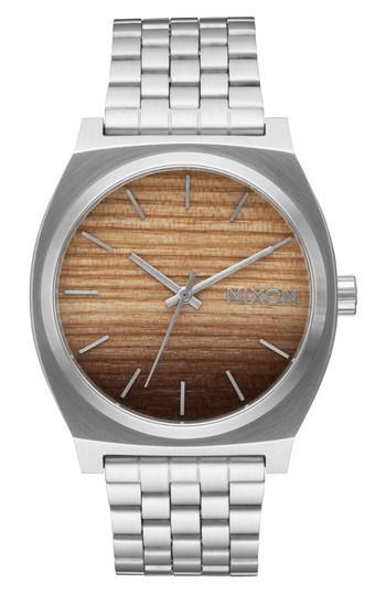 Nixon Time Teller Bracelet Watch, 37mm In Silver/ Wood/ Silver