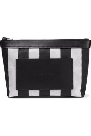 Alexander Wang Woman Leather-Paneled Striped Woven Cosmetics Case Black
