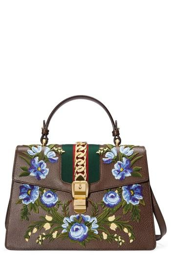 e8731cd9861 Gucci Medium Sylvie Embroidered Top Handle Leather Shoulder Bag - Grey In  Acero Multi