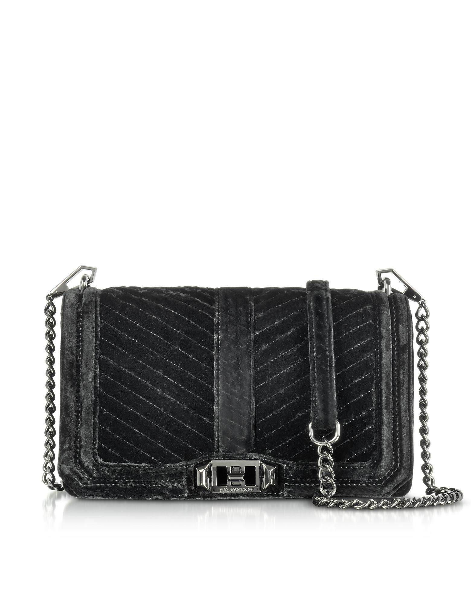 441f72895 Rebecca Minkoff Black Chevron Quilted Velvet Love Crossbody Bag ...