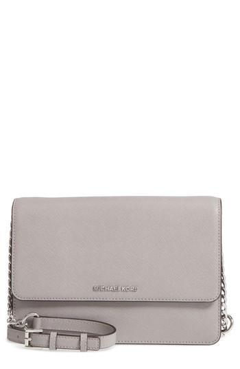 7e89454f8643 Michael Michael Kors Large Daniela Leather Crossbody Bag - Grey In Pearl  Grey