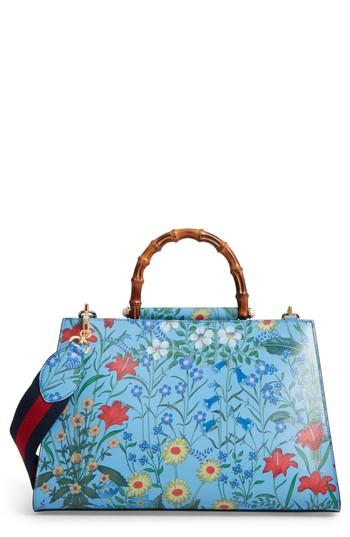 26c3fa7ad Gucci Large Nymphaea New Flora Print Leather Top Handle Tote - Blue In  Azure Floral