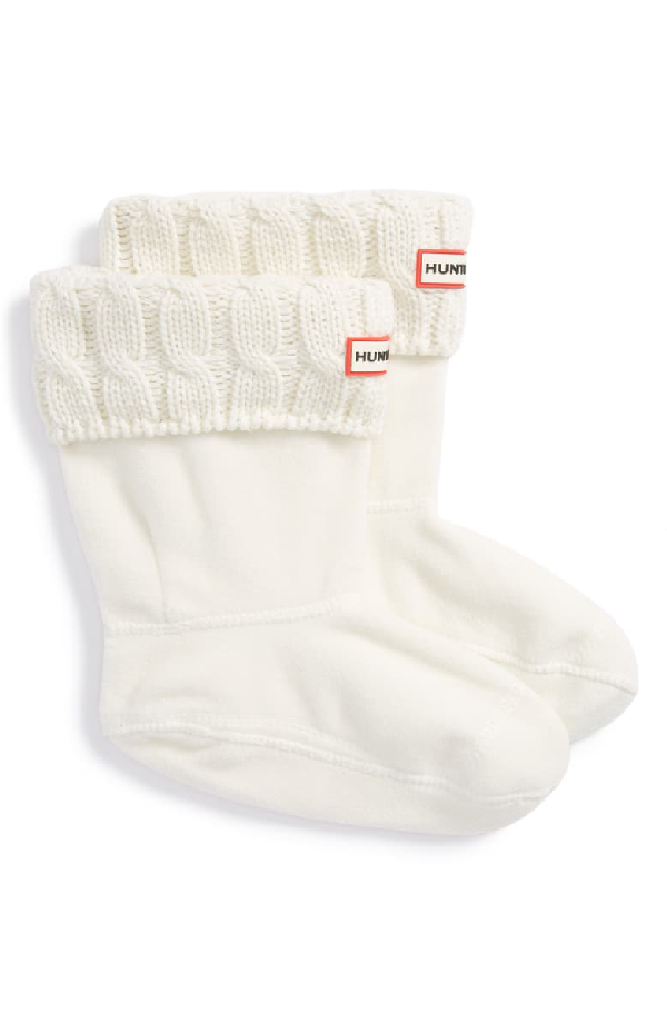 Hunter Original Short Cable Knit Cuff Welly Boot Socks In Natural White