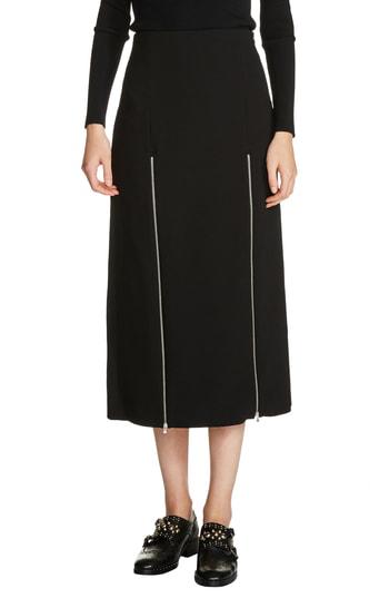 ff8ca71d6f Maje Jona Zip-Detail Slit Midi Skirt In Black | ModeSens