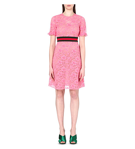 Gucci Striped Floral-lace Dress In Pink Coral