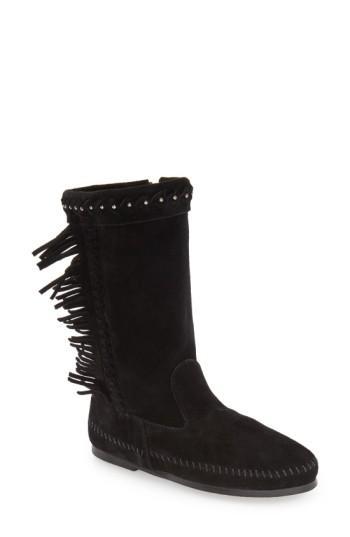 Minnetonka 'luna' Fringe Boot In Black Suede