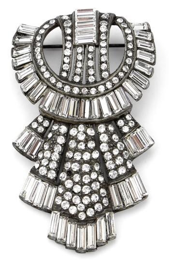 Ben-amun Ben Amun Deco Brooch In Silver