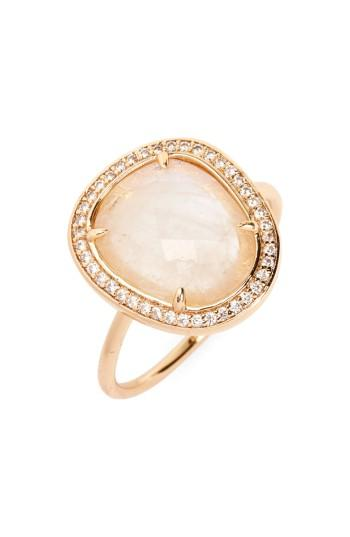 Melanie Auld Stone Ring In Moonstone/ Gold