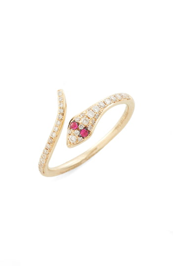 Ef Collection Diamond & Ruby Snake Ring In Yellow Gold