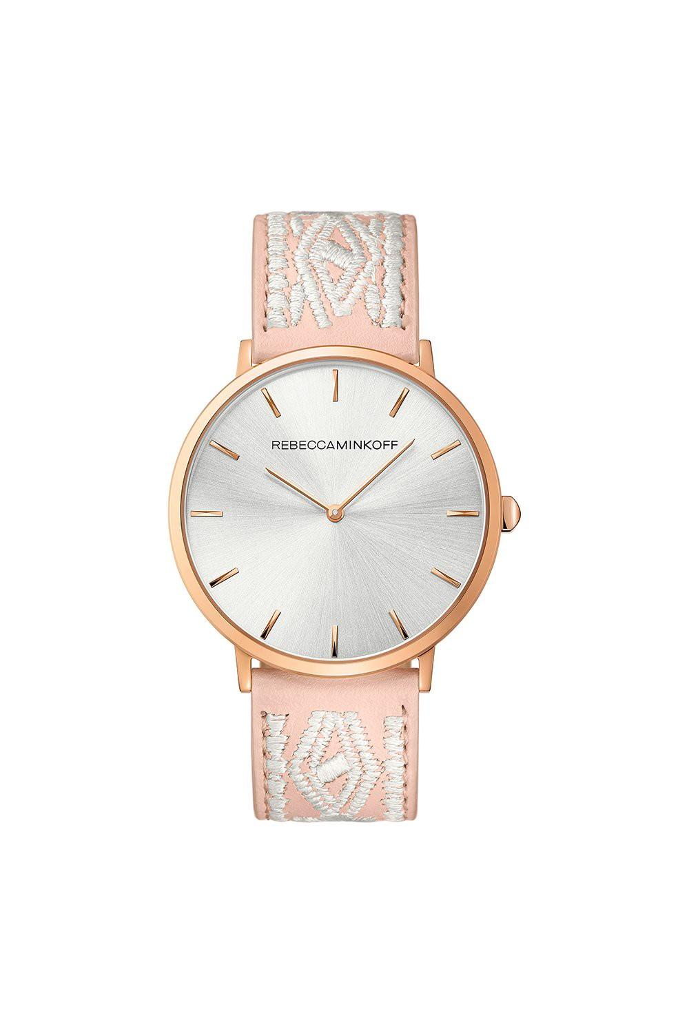Rebecca Minkoff Major Rose Gold Tone Stitched Leather Watch, 40mm In Silver