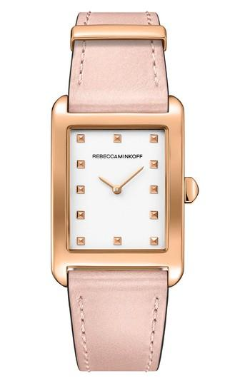 Rebecca Minkoff Moment Leather Strap Watch, 27mm X 39mm In Blush/ White/ Rose Gold