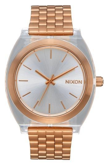 Nixon Time Teller Acetate Bracelet Watch, 40mm In Rose Gold / Clear