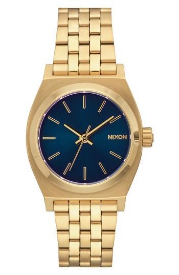 Nixon Time Teller Bracelet Watch, 31mm In Gold/ Cobalt/ Gold
