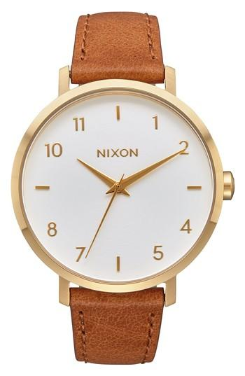 Nixon The Arrow Leather Strap Watch, 38mm In Saddle/ White/ Gold