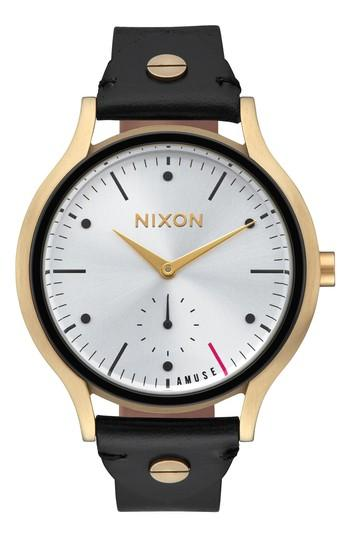 Nixon Sala Leather Strap Watch, 38mm In Black/ White/ Gold