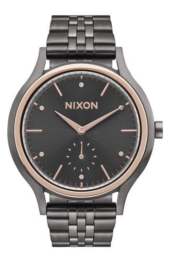 Nixon Sala Bracelet Watch, 38mm In Gunmetal/ Rose Gold