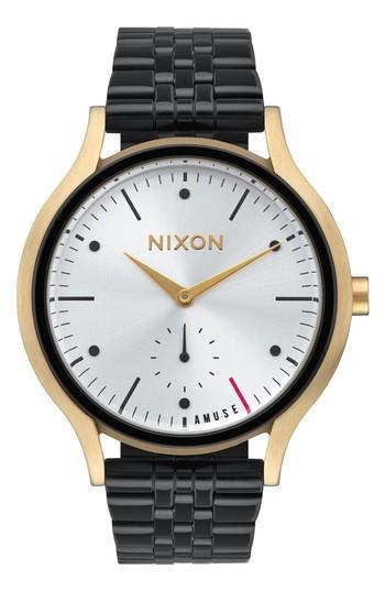 Nixon Sala Bracelet Watch, 38mm In Black/ White/ Gold
