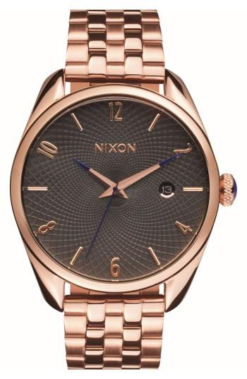 Nixon 'bullet' Guilloche Dial Bracelet Watch, 38mm In Rose Gold/ Gunmetal