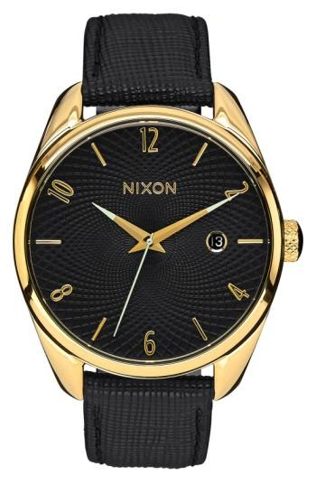 Nixon 'the Bullet' Leather Strap Watch, 38mm In Black/ Gold