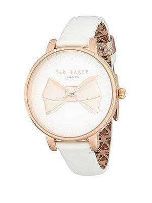 Ted Baker Stainless Steel And Leather Strap Watch In White/ Rose Gold